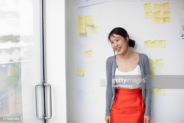 Smiling businesswoman with in front of whiteboard with adhesive notes