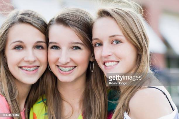 Smiling Caucasian friends