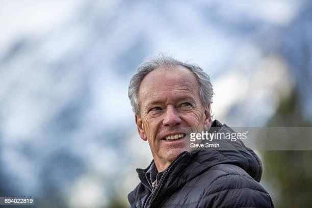 Smiling Caucasian man outdoors