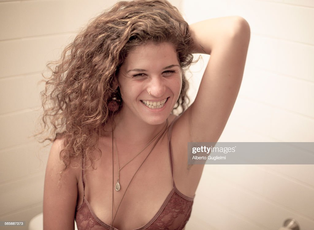 Smiling Caucasian Woman Showing Armpit Hair Stock Photo Getty Images