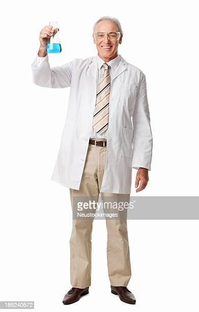 Smiling Chemist Holding A Conical Flask - Isolated