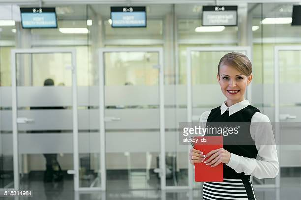 Smiling clerk in client service area