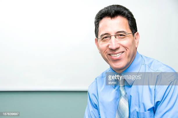 smiling college professor with copy space - lebanese ethnicity stock photos and pictures