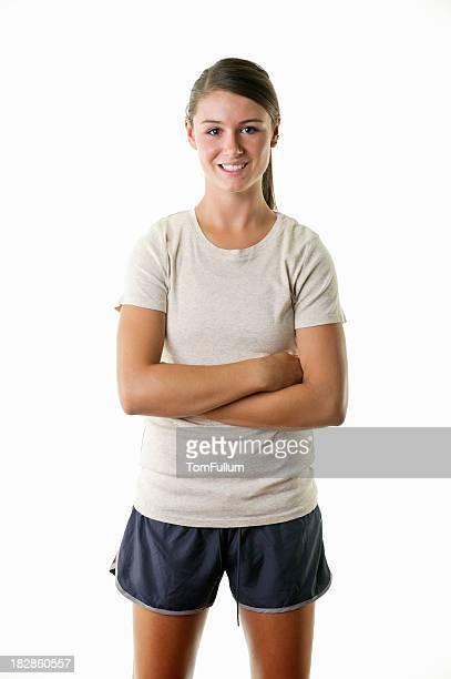 lächelt selbstbewusst teenager-mädchen - sportlerin stock-fotos und bilder