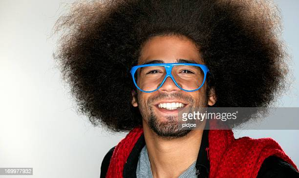 smiling cool black man with blue glasses for fun
