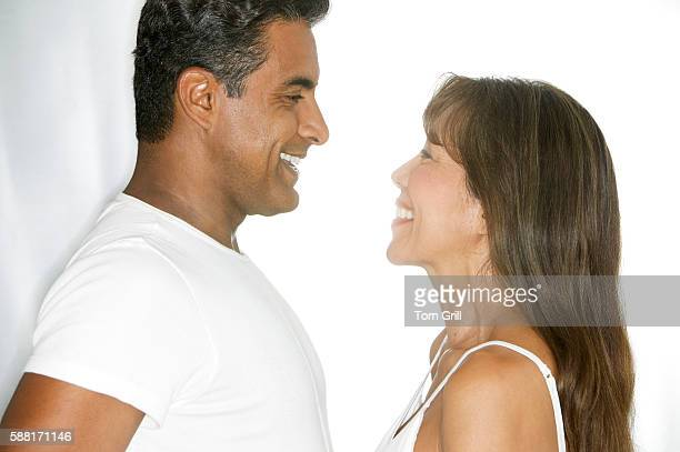 Smiling Couple Face to Face