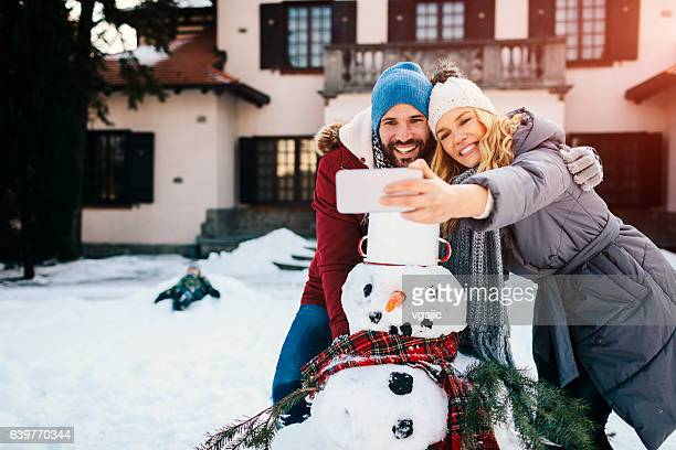 Smiling Couple Making Selfie