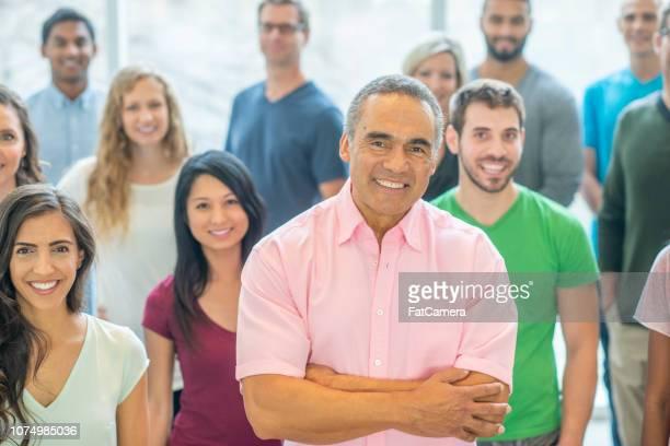 Smiling diverse group portrait