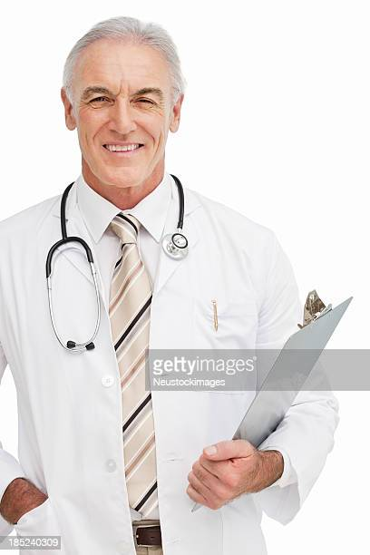 Smiling Doctor With Clip board - Isolated