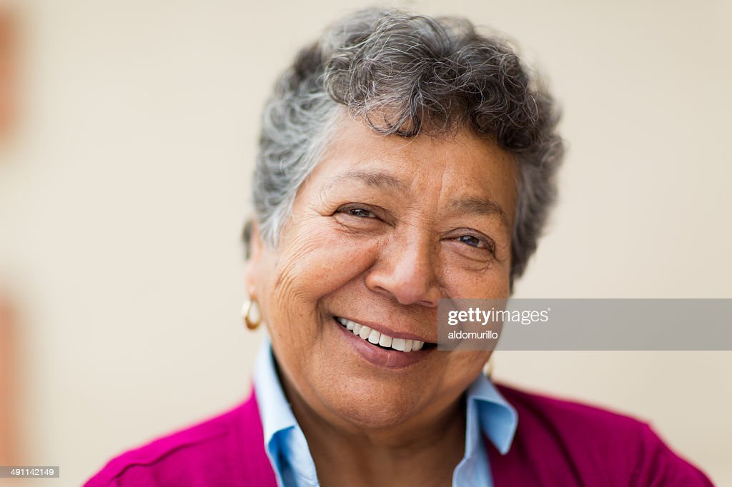 Smiling elderly woman : Stock Photo