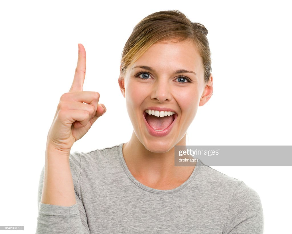 Smiling Excited Young Woman One Finger Number 1 Hand Gesture : Stock Photo