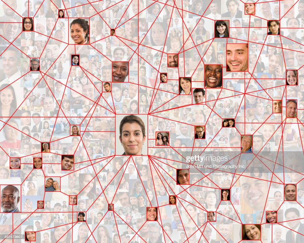 Smiling faces in connected in social network web : Stock Photo