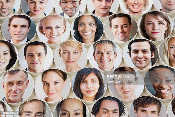 Smiling faces on discs placed in grid formation