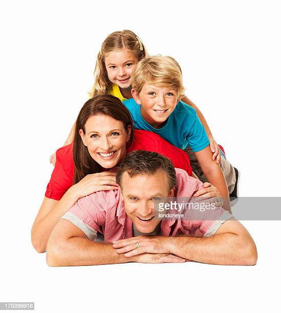 Smiling Family Lying On Each Other - Isolated