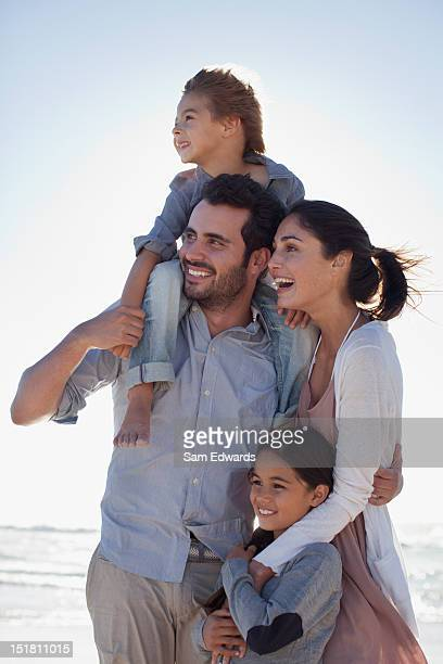 Smiling family on beach
