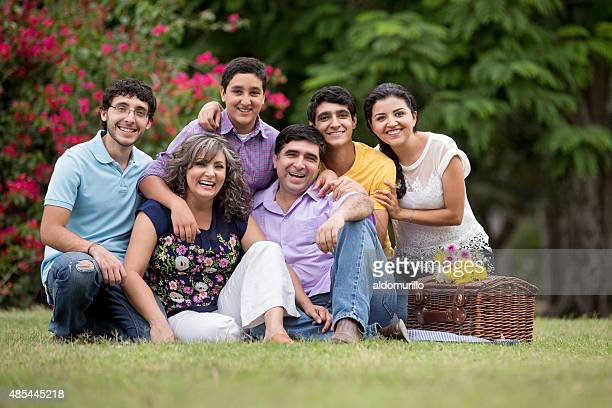 smiling family - mexican picnic stock pictures, royalty-free photos & images