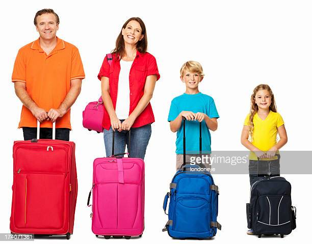 Smiling Family With Their Luggage - Isolated