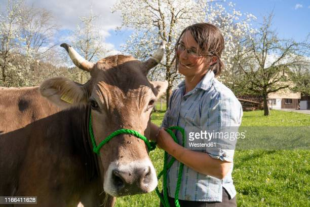 Smiling farmer with a cow on pasture