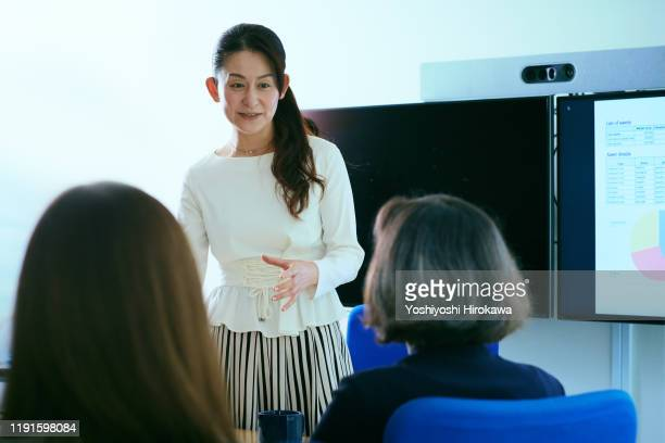 smiling female business owner talking during presentation during meeting in office conference room - 少人数 ストックフォトと画像