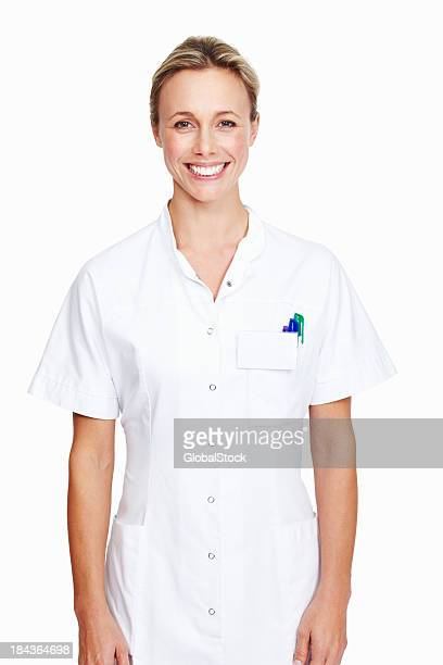 smiling female doctor - nurse and portrait and white background and smiling and female and looking at camera stock pictures, royalty-free photos & images