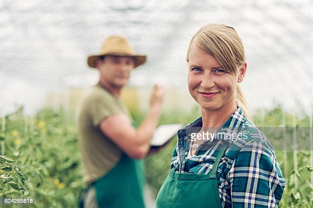 Smiling female gardener