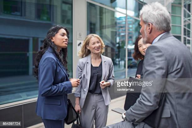 Lächelnde weibliche Fachkräfte mit männlichen Kollegen