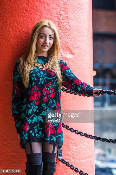 smiling for the camera the albert dock - models in stockings stock pictures, royalty-free photos & images