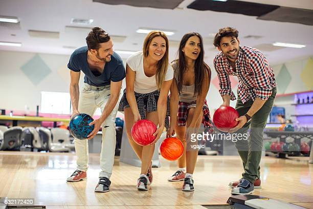 Smiling Friends Bowling Together