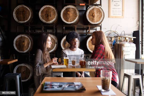 smiling friends talking while having beer at table against barrels in brewery - brewers stock pictures, royalty-free photos & images
