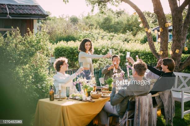 smiling friends toasting beer while enjoying at social gathering - garden party stock pictures, royalty-free photos & images