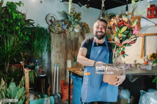 lächelnder gärtner arbeitet mit blumen im gartencenter - emigration and immigration stock-fotos und bilder