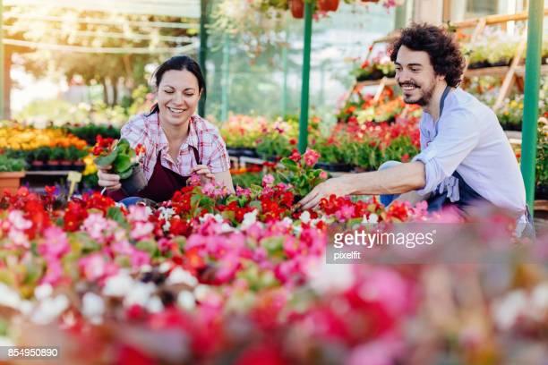 Smiling gardeners