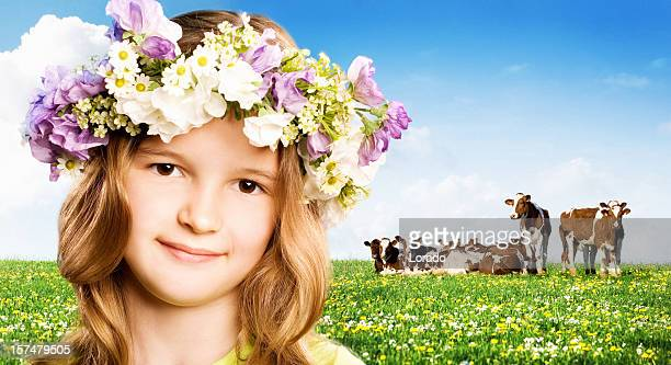 smiling girl against nature background