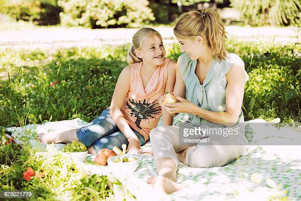 smiling girl and young woman sitting face to face on blanket in a park - aunt stock pictures, royalty-free photos & images