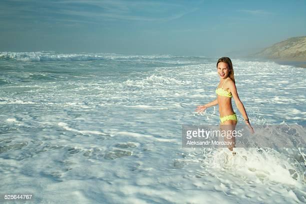 Smiling Girl At Seashore. Portugal.