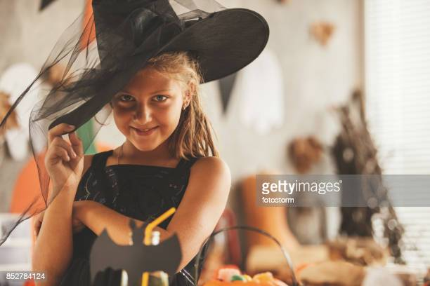 Smiling girl at the Halloween party