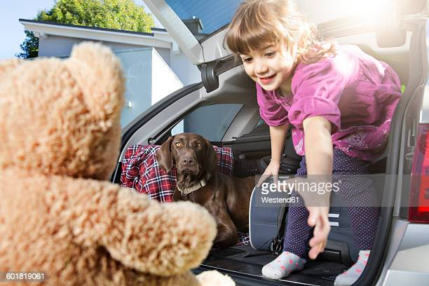Smiling girl in car boot with dog looking at teddy bear