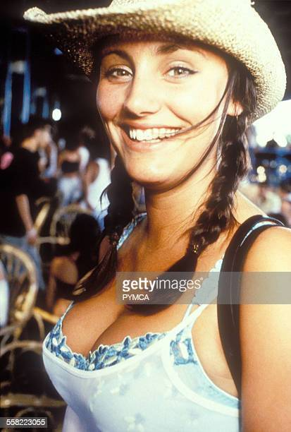 Smiling girl in straw hat Space Ibiza 1998