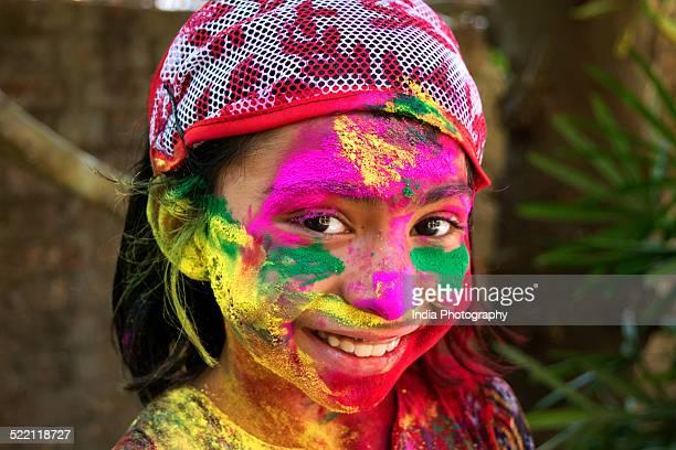 Smiling girl on Holi