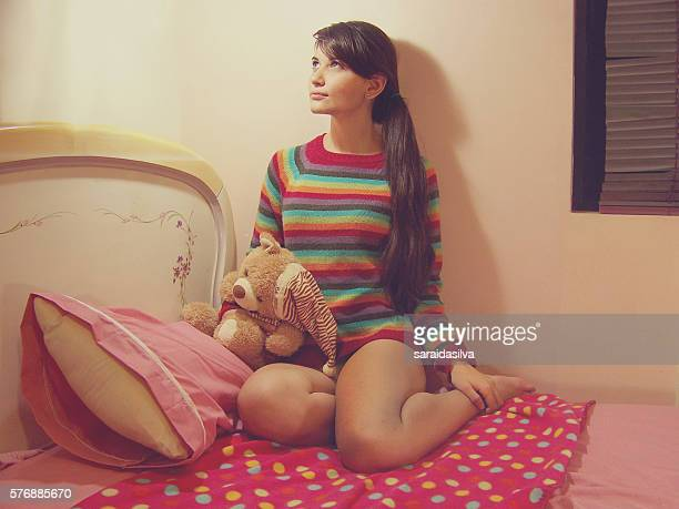 smiling girl with teddy bear - child super models stock pictures, royalty-free photos & images