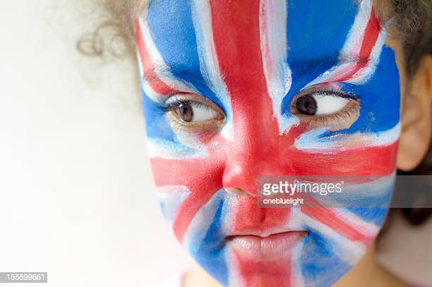 Smiling Girl (5-6) With Union Jack Face Painted
