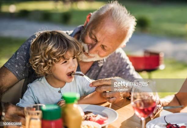 abuelo sonriente su pequeño nieto de alimentación durante el almuerzo en la naturaleza. - alimentar fotografías e imágenes de stock
