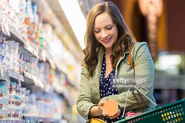 Smiling grocery store customer