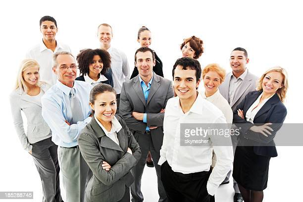 Smiling group of successful business people
