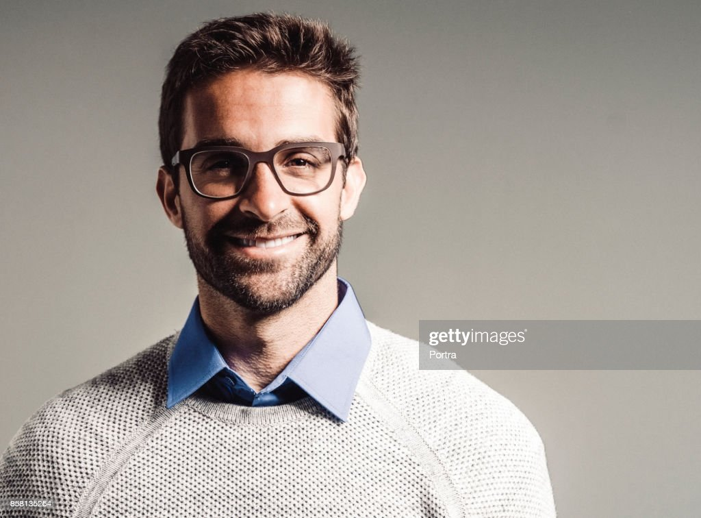 a8068138e59 Smiling handsome man wearing eyeglasses   Stock Photo