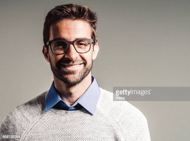 Smiling handsome man wearing eyeglasses