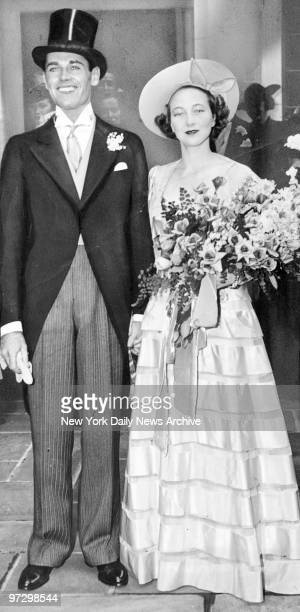 Smiling happily movie actor Henry Fonda and bride Frances Seymour Brokaw are shown as they leave Christ Episcopal Church on Park Ave and 60th St...