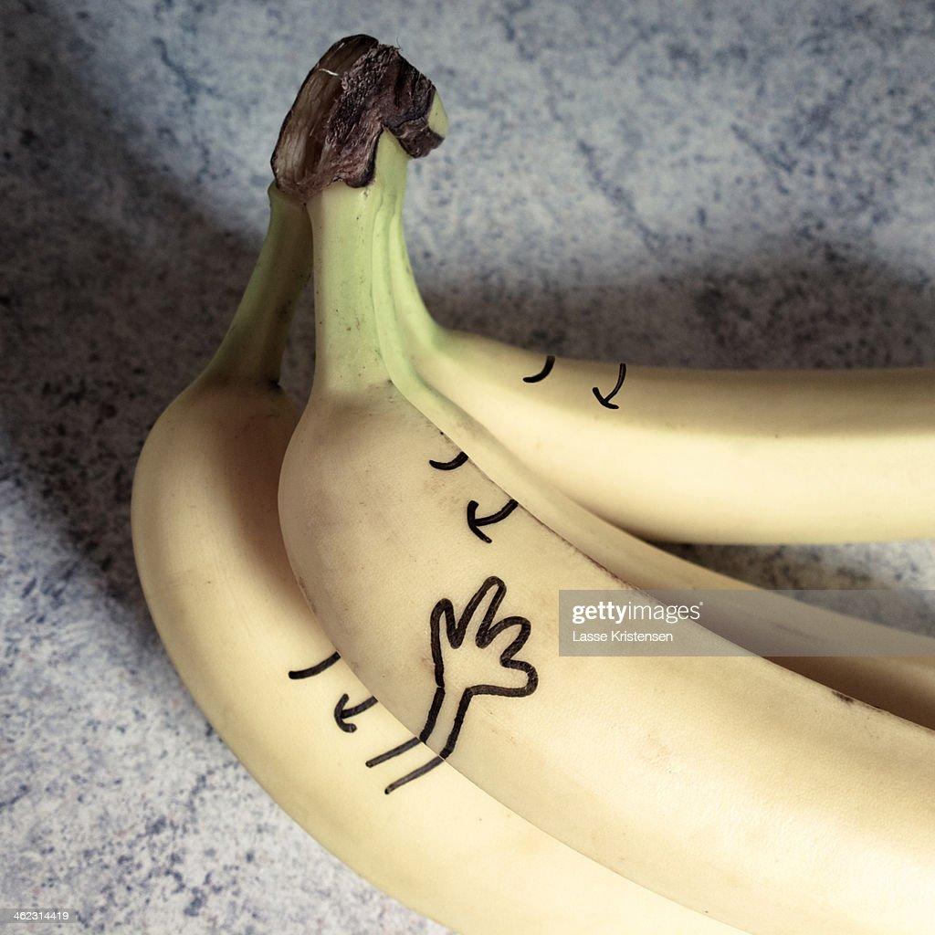 Smiling happy bananas : Stock Photo