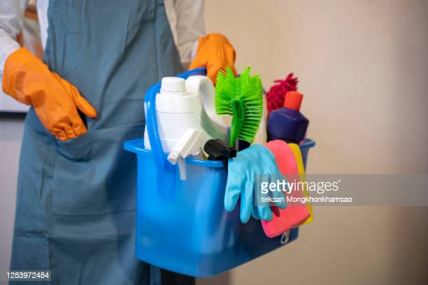 smiling happy housewife ready for cleaning home - cleaning agent stock pictures, royalty-free photos & images