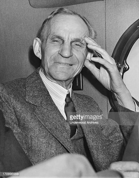 A smiling Henry Ford as he rode away from the White House after having had lunch with President Roosevelt Washington DC April 27 1938